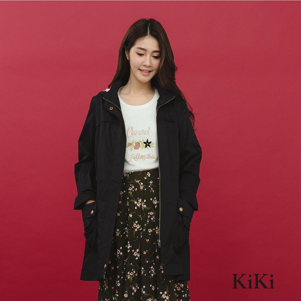 【KiKi】休閒防風長版-外套(共二色)