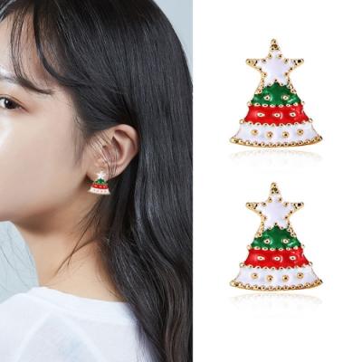 梨花HaNA  無耳洞/耳針款浪漫白色聖誕情人耳環