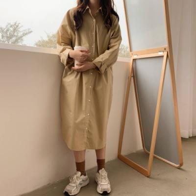 La Belleza設計感素面單口袋長版寬鬆開釦襯衫洋裝外套
