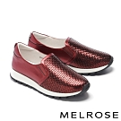 休閒鞋 MELROSE 率性潮感編織造型全真皮厚底休閒鞋-紅