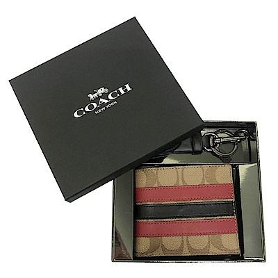 COACH 經典LOGO 男款短夾附鑰匙圈禮盒(紅黑橫紋)