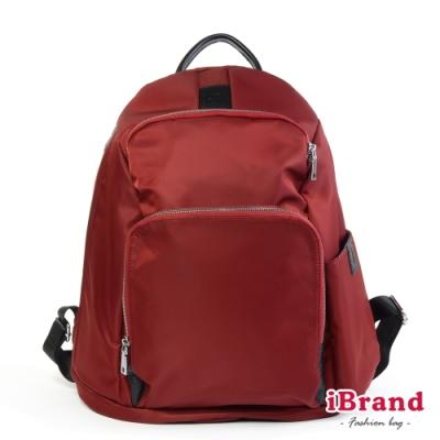 iBrand 率性時尚後開式防盜尼龍後背包(L)-酒紅色