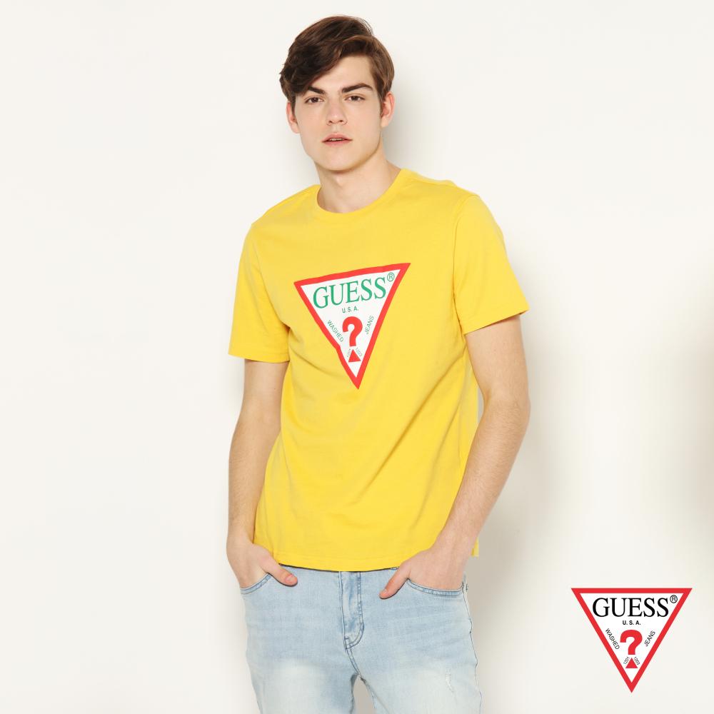 GUESS-男裝-撞色經典倒三角logo短T,T恤-黃 原價1290