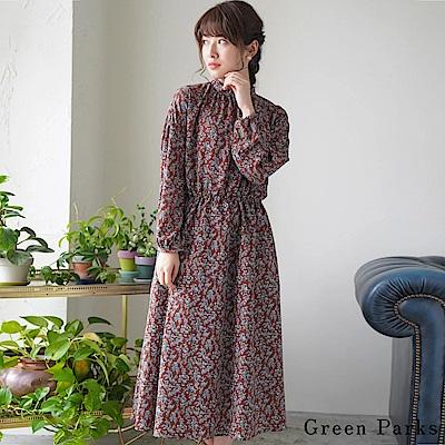 Green Parks 復古花卉印花長版洋裝