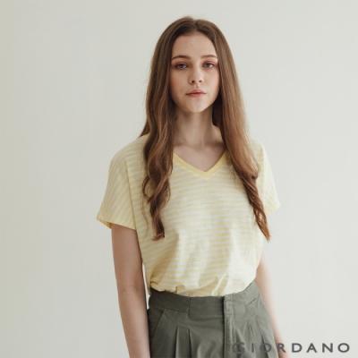 GIORDANO  女裝V領簡約T恤 - 93 檸檬黃/皎白