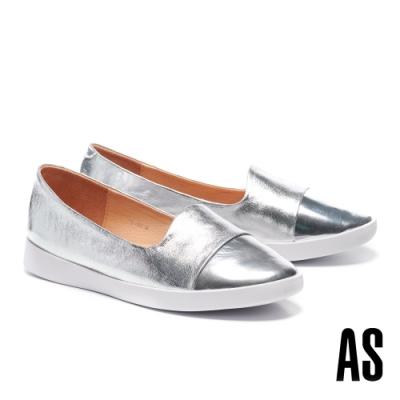 休閒鞋 AS 簡約率性異材質拼接全真皮厚底休閒鞋-銀