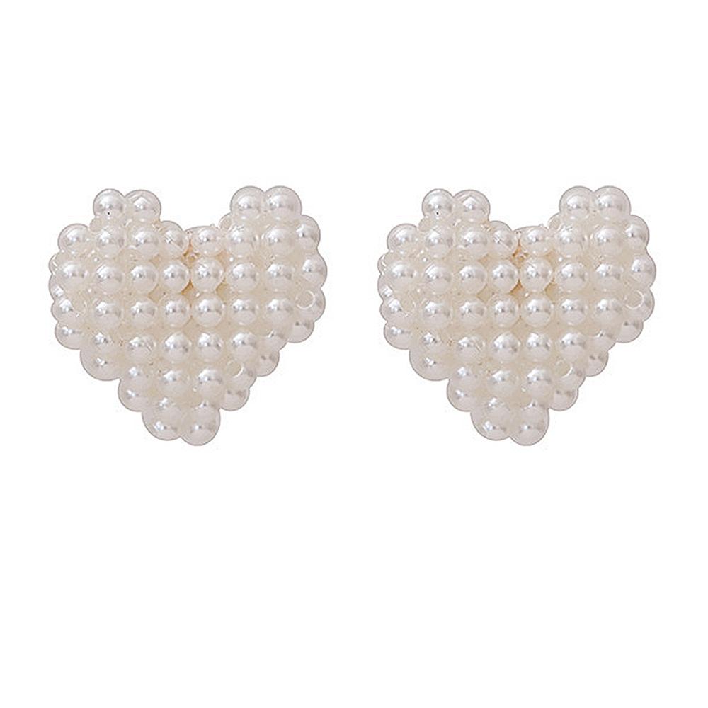 梨花HaNA 丞琳同款愛心珍珠滿飾耳環