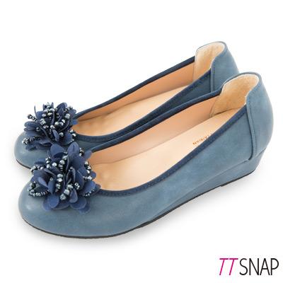 TTSNAP娃娃鞋-MIT花漾綻放珠花增高坡跟鞋 藍