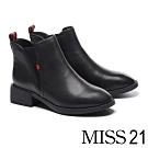 短靴 MISS 21 百搭質感鬆緊帶拼接摔紋牛皮粗高跟短靴-黑