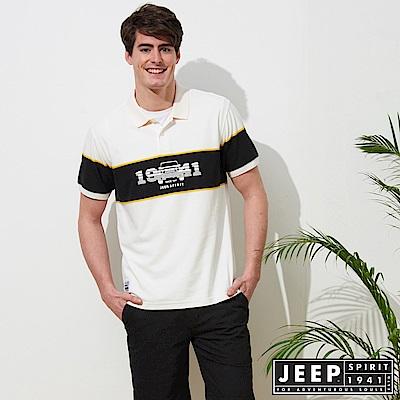 JEEP 拼接造型短袖POLO衫-白色