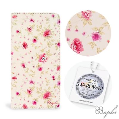 apbs iPhone XS / iPhone X 兩用施華彩鑽磁吸手機殼皮套-月季花