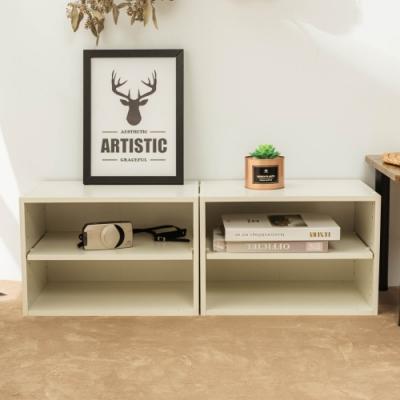 樂嫚妮 DIY 日式 二層收納櫃/空櫃/書櫃-層板可抽-純白色2入組-42X28.2X28.8cm