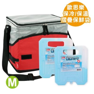 歐思樂摺疊保鮮袋M+日本製保冷劑/冰磚--中(750g)×2