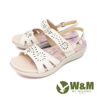 W&M(女) 雕花黏扣帶 厚底彈力涼鞋 女鞋 -白 (另有紫. 粉)