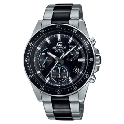 EDIFICE 簡單風格賽車紋路設計黑藍不鏽鋼錶-(EFV-540SBK-1A)/43mm