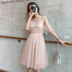 IMStyle 韓版時尚雪紡釘珠網紗吊帶連身裙【正品】
