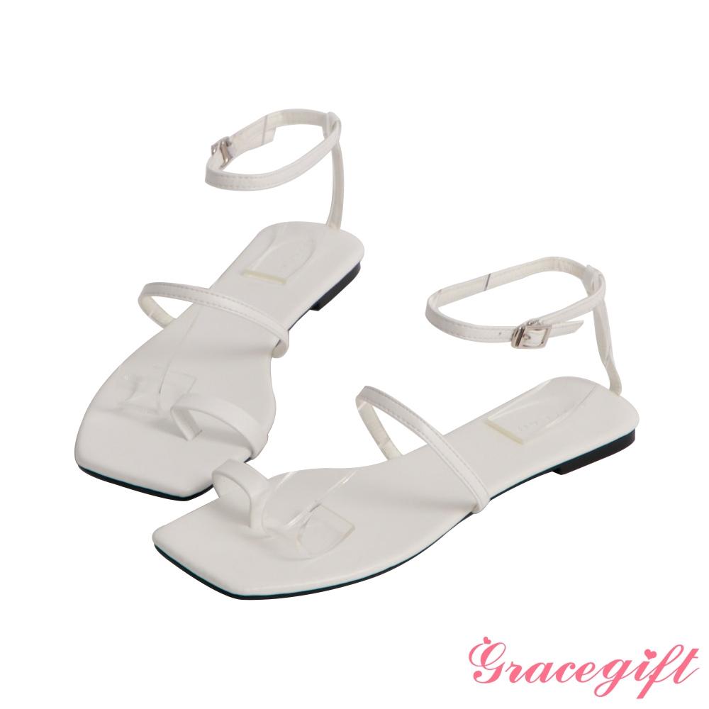 Grace gift-一字帶套趾繞踝平底涼鞋 白