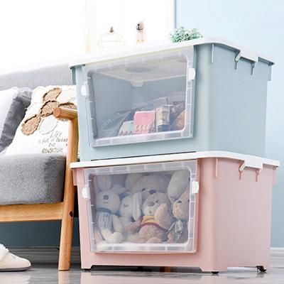 木暉-2入-北歐風大視窗雙開大容量帶輪收納箱-6色