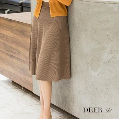 DEER.W 坑條及膝針織傘裙(咖啡)