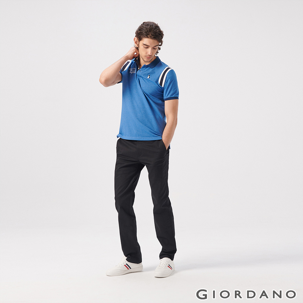 GIORDANO 男裝素色彈性修身長褲-09 標誌黑