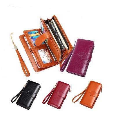 玩皮工坊-復古牛皮24卡位女士皮夾錢包長夾手拿包女夾-LH491