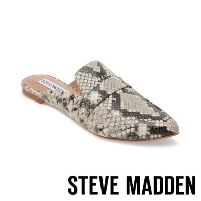 STEVE MADDEN-FLAVOR 經典款極素尖頭底跟穆勒鞋-蛇皮白