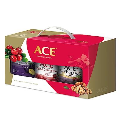 ACE 中秋限定果乾堅果禮盒3罐組(軟嫩蜜棗乾 大蔓越莓乾 每日健康纖果)