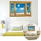 kiret 開窗造型防水壁貼 假窗 無窗戶化解風水開運牆貼 無敵海景沙灘-50x70