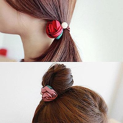 梨花HaNA 韓國手工緞帶玫瑰花園珍珠捲捲髮圈