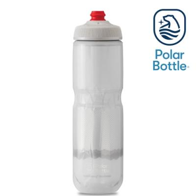 Polar Bottle 24oz 雙層保冷噴射水壺 RIDGE 白-銀