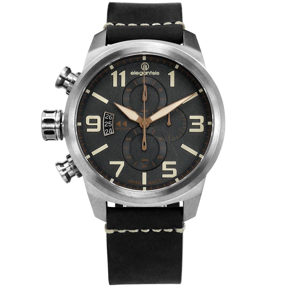 elegantsis / 復古軍事 藍寶石水晶玻璃 真皮手錶-黑色/46mm @ Y!購物