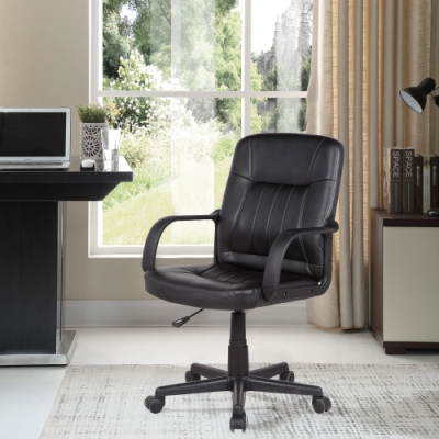 E-home Raines雷恩斯可調式扶手電腦椅-黑色