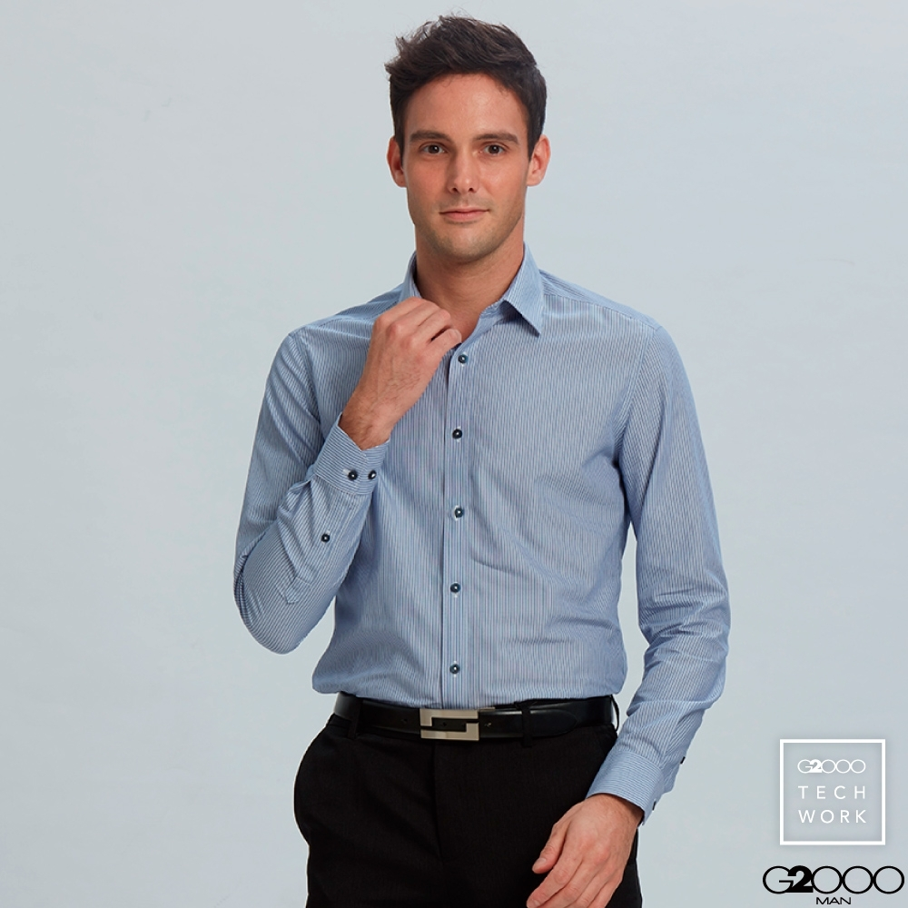 G2000條紋長袖上班襯衫-藍色