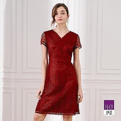 ILEY伊蕾 編織感縷空蕾絲V領洋裝(藍/紅)
