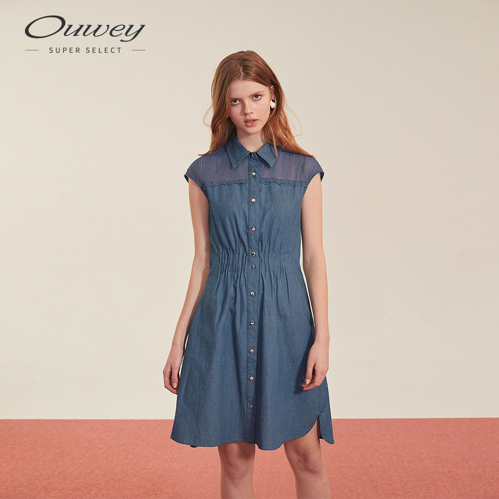 OUWEY歐薇 微透膚蕾絲刺繡仿牛仔洋裝(藍)