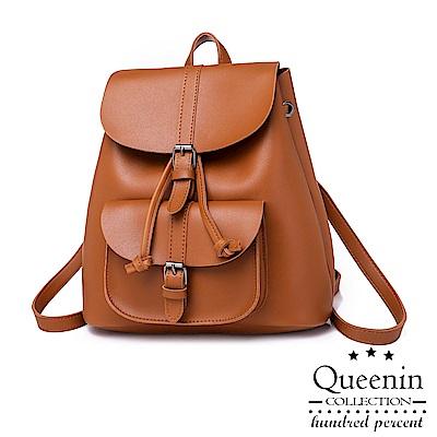 DF Queenin日韓 - 淑女風範優雅純色2way後背包-黃棕色