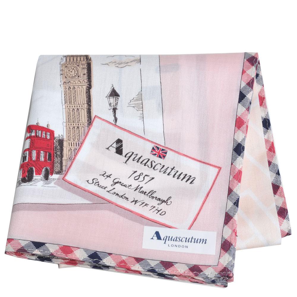 Aquascutum 品牌格紋滾邊倫敦笨鐘圖騰地圖LOGO帕領巾(粉紅系) @ Y!購物