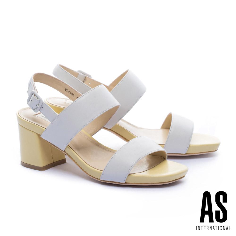 涼鞋 AS 簡約主義寬版繫帶造型全羊皮高跟涼鞋-白