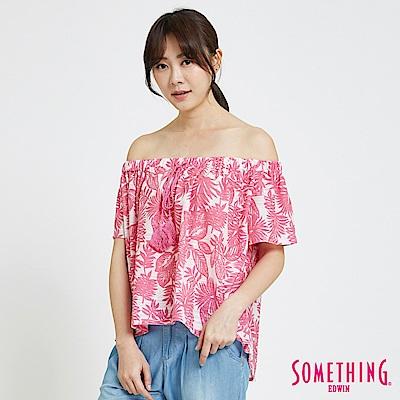 SOMETHING 休閒平口造型T恤-女-粉色