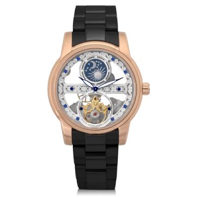 HYUN炫 日月星辰鋼帶精品錶-黑鋼