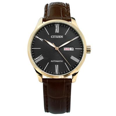 CITIZEN 機械錶 自動上鍊 日期星期 真皮手錶 黑x香檳金框x深褐 / 40mm