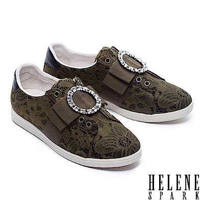 休閒鞋 HELENE SPARK 浪漫華麗圓鑽飾蕾絲布厚底休閒鞋-綠