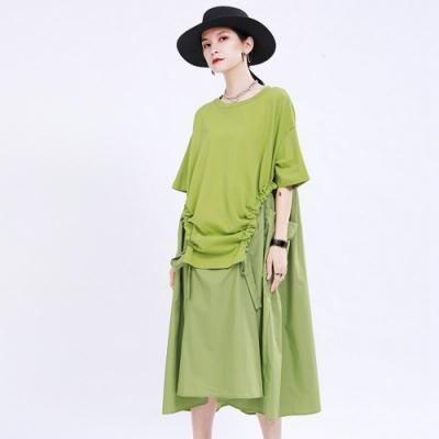 法式純色復古大口袋拼接不規則洋裝-F(共二色)-CLORI