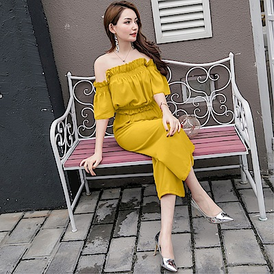DABI 韓國風新款氣質範一字領上衣寬口褲套裝短袖褲裝