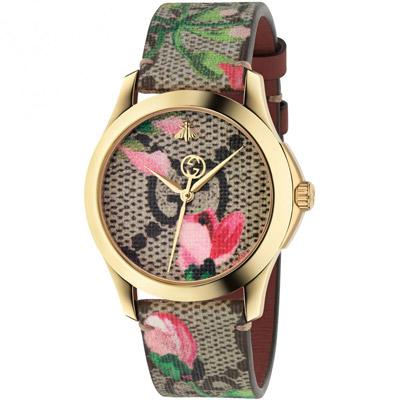 GUCCI 古馳 G-Timeless 雙G花朵綻放印花腕錶(YA1264038)x38m