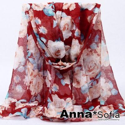 【2件450】AnnaSofia 薔薇花媛 巴黎紗披肩圍巾(酒紅系)