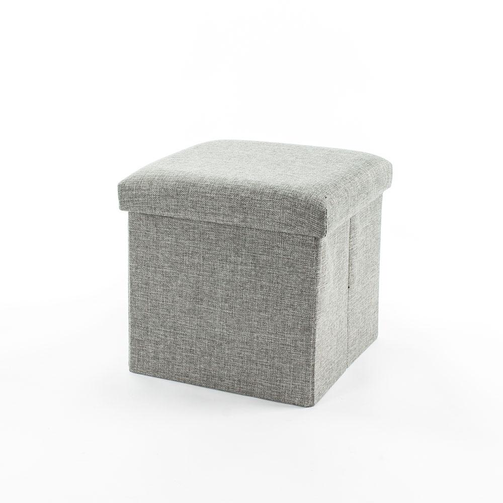 樂嫚妮 棉麻折疊收納椅凳/穿鞋凳/收納箱-27L-灰