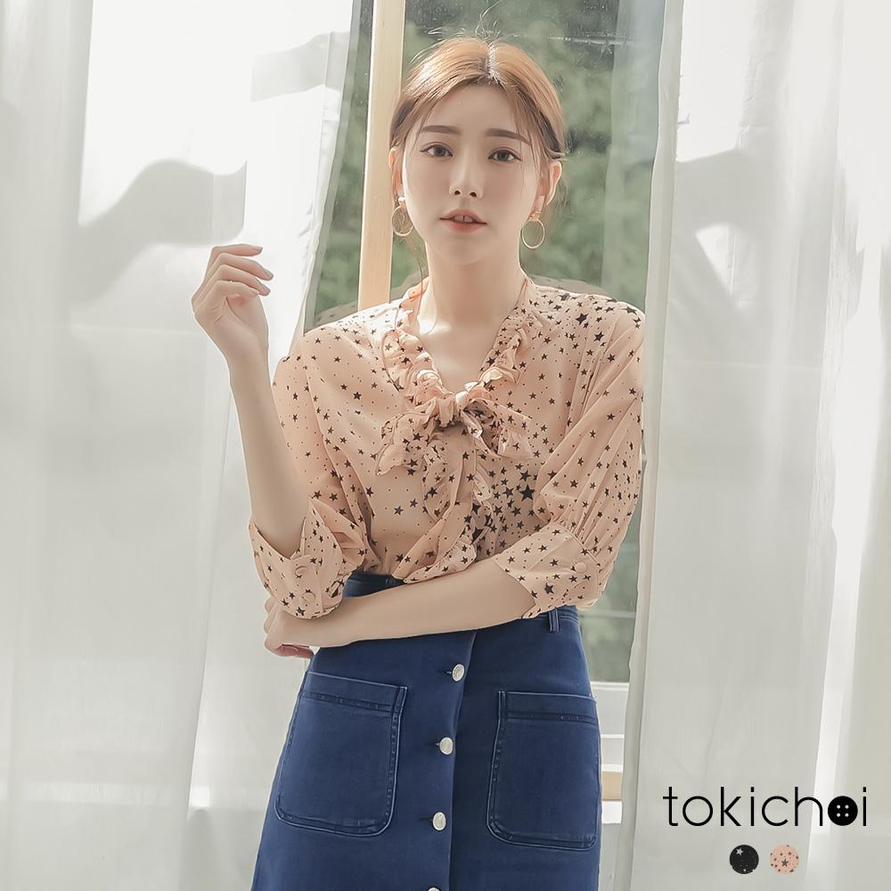 東京著衣 仙女氣息滿版星星荷葉領結透膚上衣-S.M.L(共兩色)