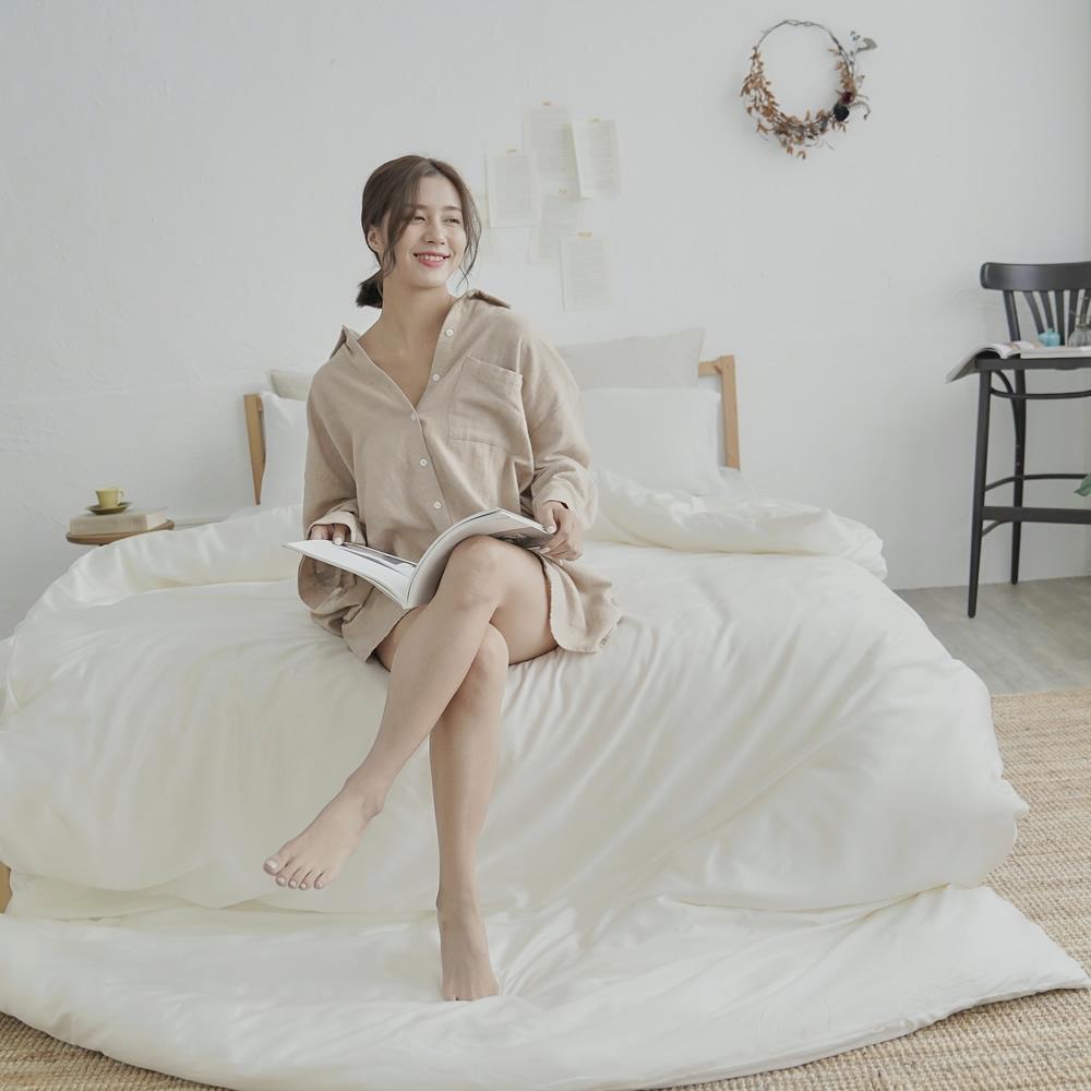 BUHO 素面文青300織100%TENCEL純天絲床包枕套三件組-雙人(多款任選-A)