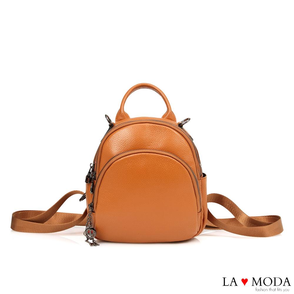 La Moda 質感女孩全真皮頭層牛皮荔枝紋大容量多背法後背包(棕)